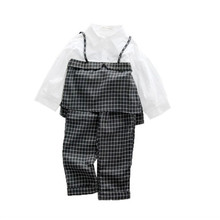 цена на DFXD 2018 Autumn Children Girl Clothing Set New Baby Girl Long Sleeve Plaid Spliced Pullover Top+Long Pant 2pc Kids Set 2-8Years