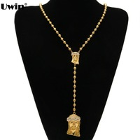 30 Inch Gold Plated Rosary Beads Necklace With Iced Out Crucifix Cross Jesus Pendant Mens And