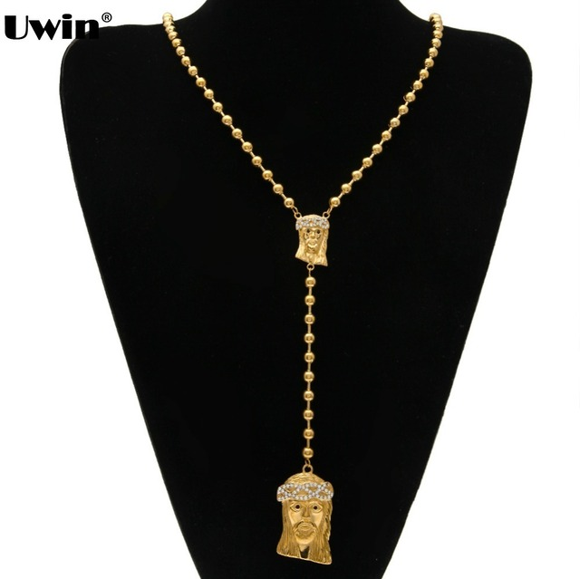 30 inch gold color rosary beads necklace with iced out crucifix 30 inch gold color rosary beads necklace with iced out crucifix cross jesus pendant mens and aloadofball Image collections