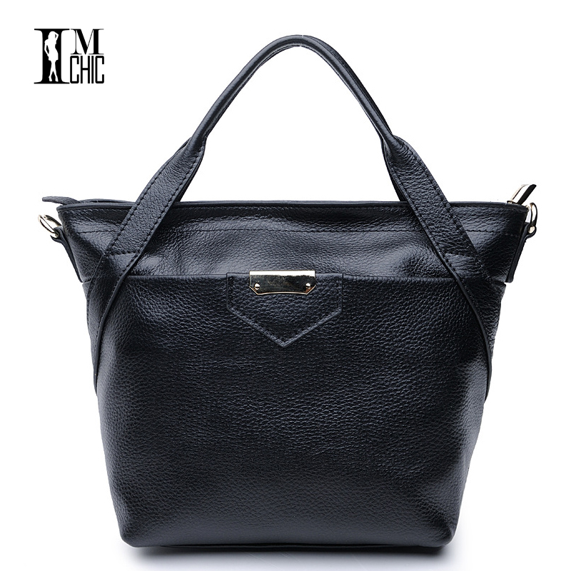 IMCHIC Women Messenger Bags Genuine Leather Cowhide Ladies Tote Bucket Handbags Real Skin Casual Woman Crossbody Small Shoulder genuine leather fashion women handbags bucket tote crossbody bags embossing flowers cowhide lady messenger shoulder bags