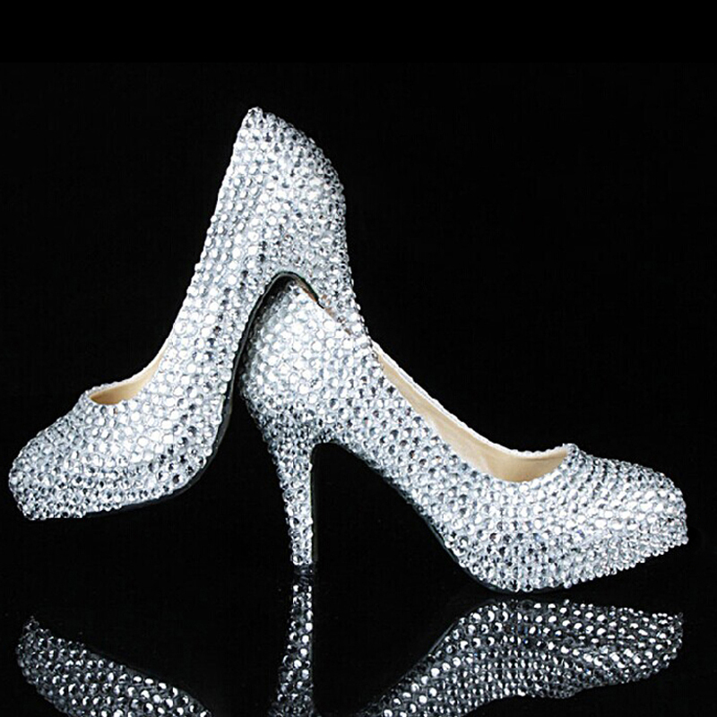 Beautiful 3 Inches Bridal High Heels Shoes Wedding Bridesmaid Shoes Rhinestone Party Shoes Evening Prom Dress