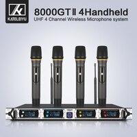 Kateleiyu U-8000GT 4 canais profissional microfone sem fio uhf lapela sistema de microfone kalaok 4 microfone à mão