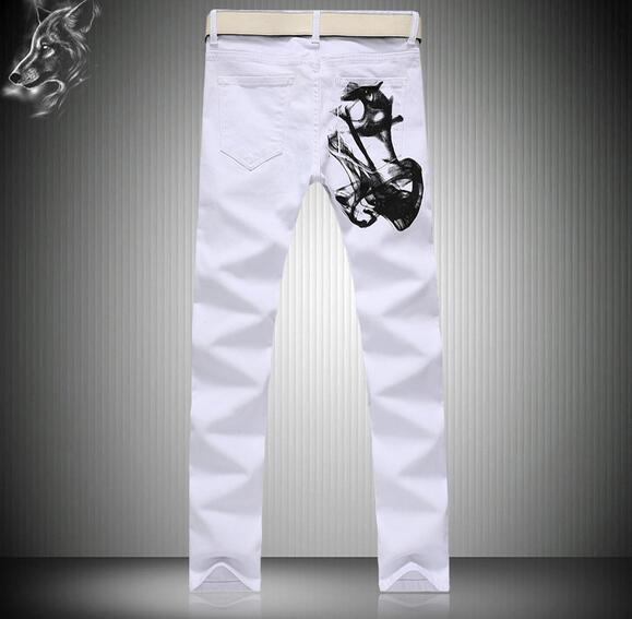 2016 The New Mens Trousers Tide Male White Jeans Birds Series Leisure Pants Korean version Nightclubs
