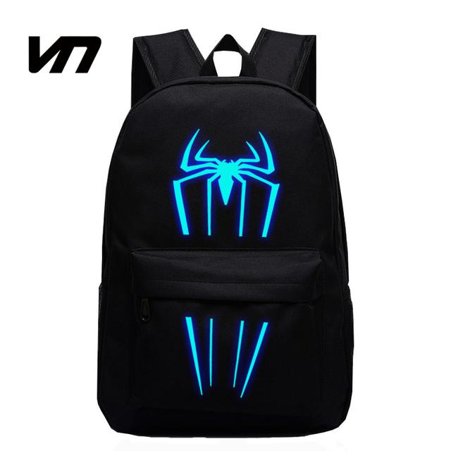 VN 2016 Nova Moda Spiderman Mochilas Para Crianças Mochilas Para Adolescentes Mochilas Escolares Crianças Homem Aranha Luminosa Para As Crianças Fãs