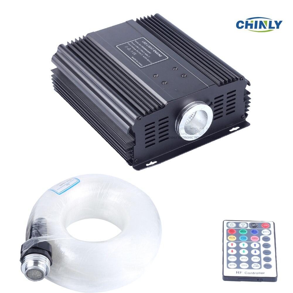 DMX 45 W RGB 28key telecomando In Fibra Ottica A LED kit del soffitto della stella di luce 1000 pcs 5 m 0.75 millimetri per lampada del soffitto