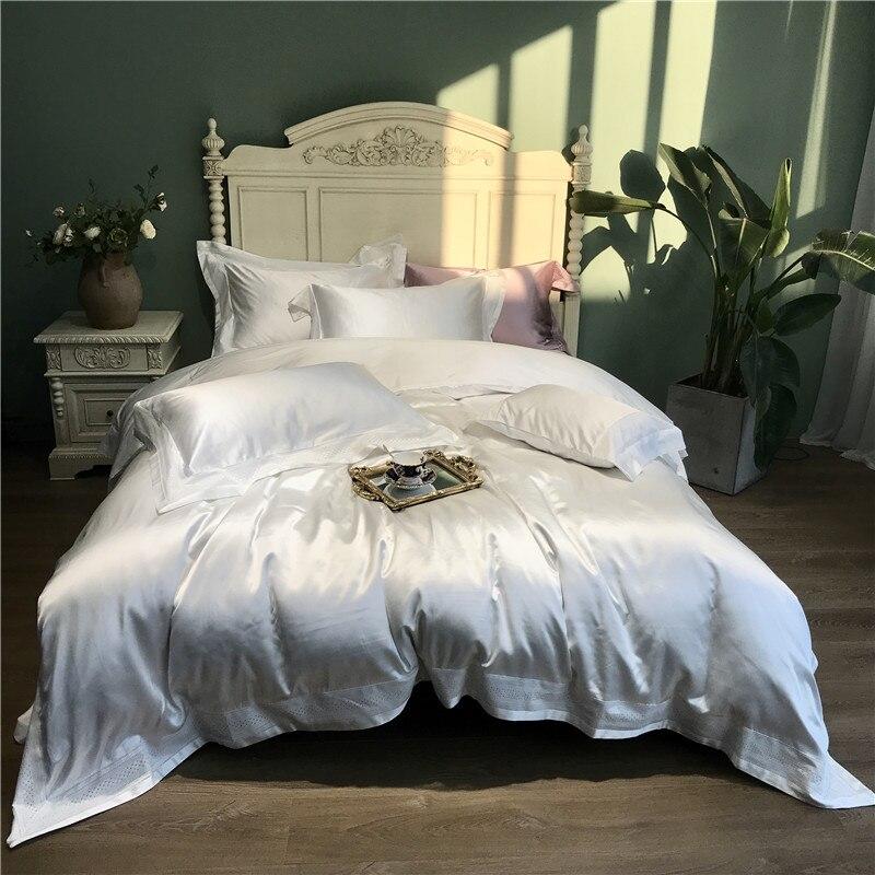 Super soft silk cotton Bedding Sets 4pcs white color Bed Linen Duvet Cover Bed Sheet PillowcaseSuper soft silk cotton Bedding Sets 4pcs white color Bed Linen Duvet Cover Bed Sheet Pillowcase