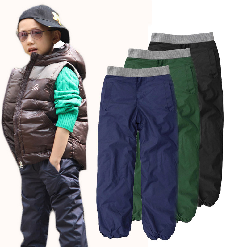 2017 New Quality Children Winter Warm Trousers Kids Thickening Plus Velvet Long Pants Boys Windproof and Waterproof Skiing Pants