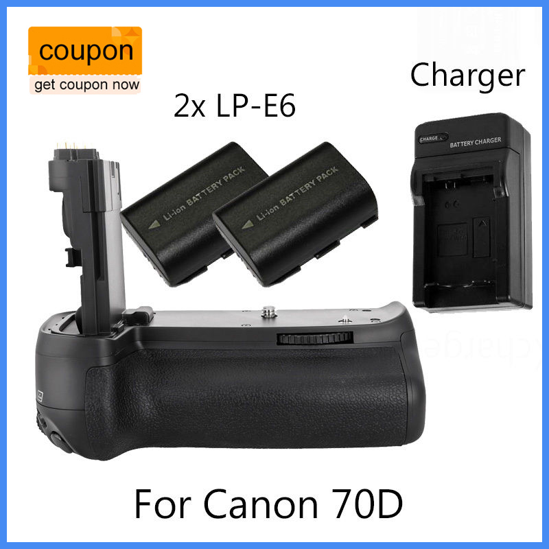 цена на MeiKe BG-E14 Vertical Battery Grip Holder For Canon EOS 70D + 2xLP-E6 +Charger