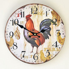 Pastoral Style Wood Cock Round Colorful Vintage Rustic Decorative Antique Wooden Home Wall Clock