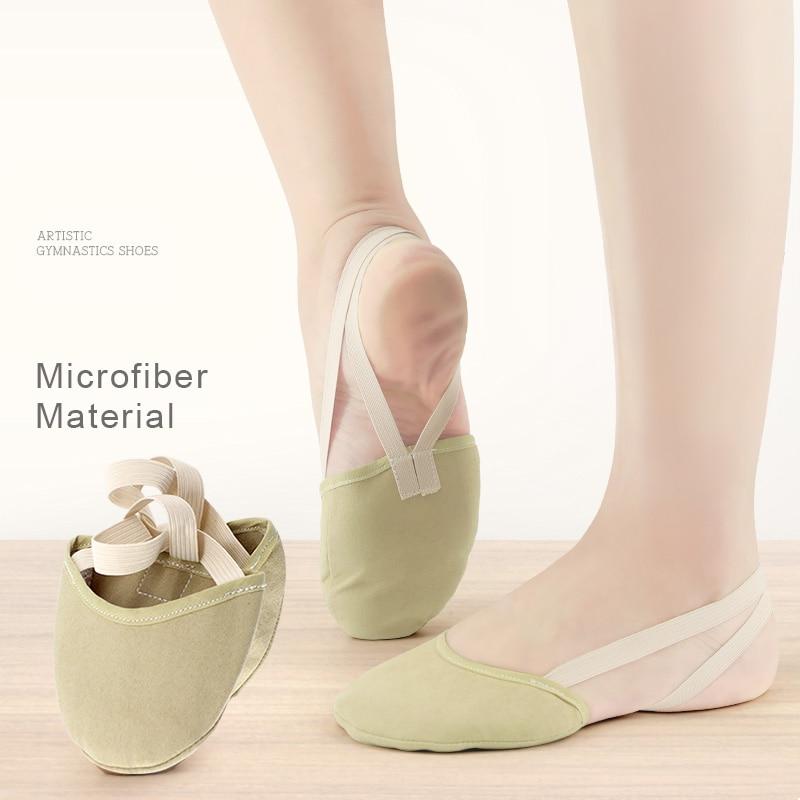 Sapatos de ginástica rítmica metade sapatos de dança microfibra meninas crianças mulheres sapatos de barriga