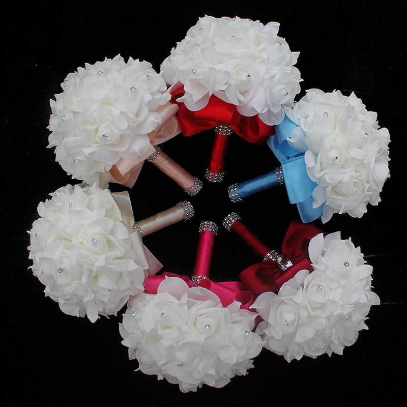 Cheap Prom Baby Blue Flower Brooch Wedding Bouquet De Mariage Wedding Bouquets PE Rose Diamond Ribbon Bouquet W2017D 4
