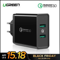 Ugreen Quick Charge 3.0 36W USB Charger for iPhone X 8 Plus Fast QC 3.0 Charger for Samsung Galaxy  s9 Xiaomi mi 8 USB Charger