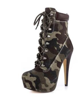 Spring and autumn women camouflage round toe platform high heel ankle boots Ladies'super high thin heel short boots Fashion boot basic 2018 women thick heel ankle boots black pu fleeces round toe work shoe red heel winter spring lady super high heel boots