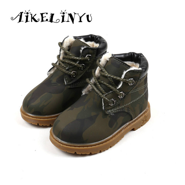 Winter Toddler Girl Boots Baby Girl Lace Up Shoes Children Camouflage Boots  Boy Martin Boots Boys Girls Warm Plush Snow Boots cf741b2dc37e