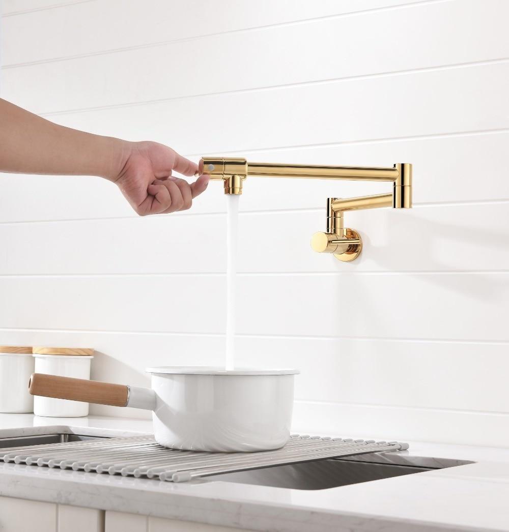 Home Garden Kitchen Faucets Wall Mount Brass Pot Filler Folding Stretchable Joint Swing Arm Kitchen Faucet Magnumcap Com