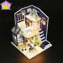 Миниатюрный Diy кукольный домик, музыкальная шкатулка, новинка, 3D деревянная ручная сборка, строительная модель, аксессуары, мебель для спальни, игрушки для детей