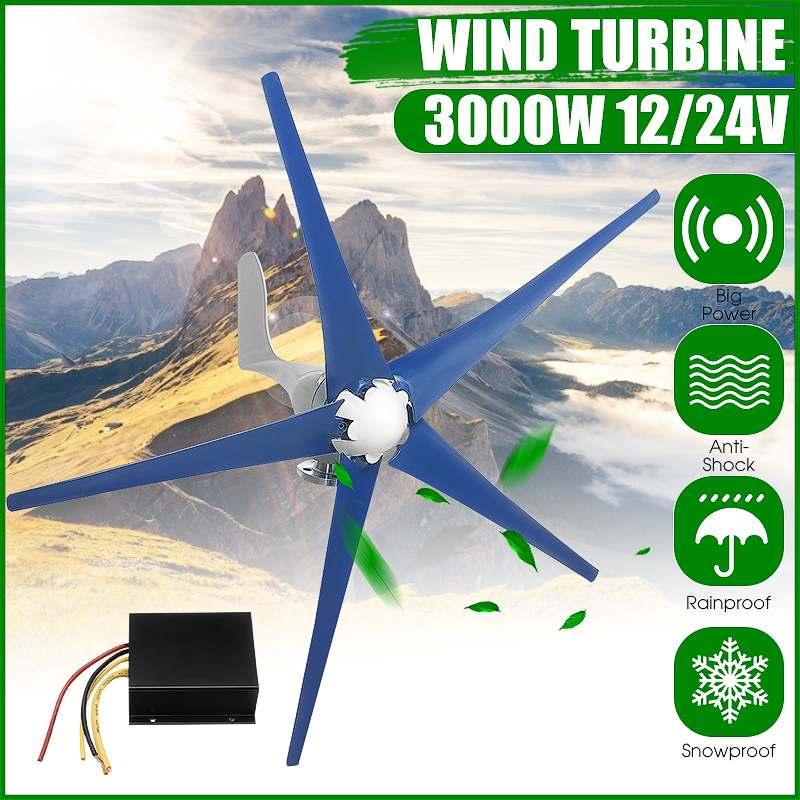 Générateur de éoliennes 3000 W générateur de vent Horizontal 12 V/24 V 5 lames avec Charge de Turbines d'énergie de moulin à vent de contrôleur