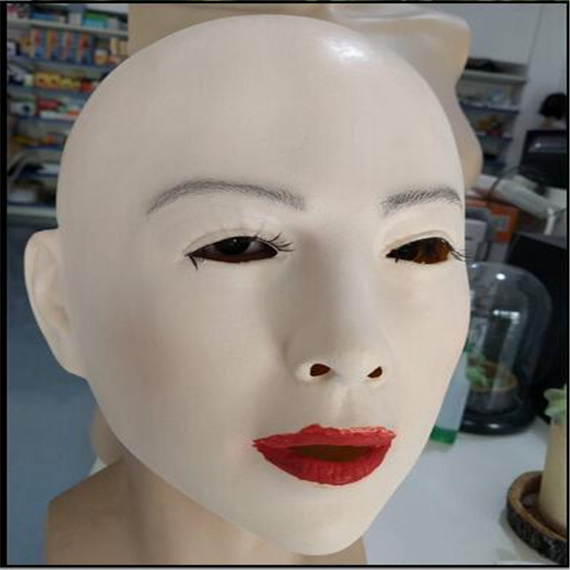 Top quality crossdresser silicone mask movie props, full face mask halloween, realistic female face masks, masquerade cosplay
