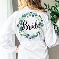 personalize any text language Unique Custom logo Wedding Bride to be Bridesmaid gifts Personalized satin kimono robe gift