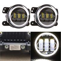 Pair LED Fog Light Kit 30W 4 inch For 97~17 Jeep Wrangler JK TJ CJ Rubicon Sahara 4 inch Amber Yellow Led Fog Lights For Dodge
