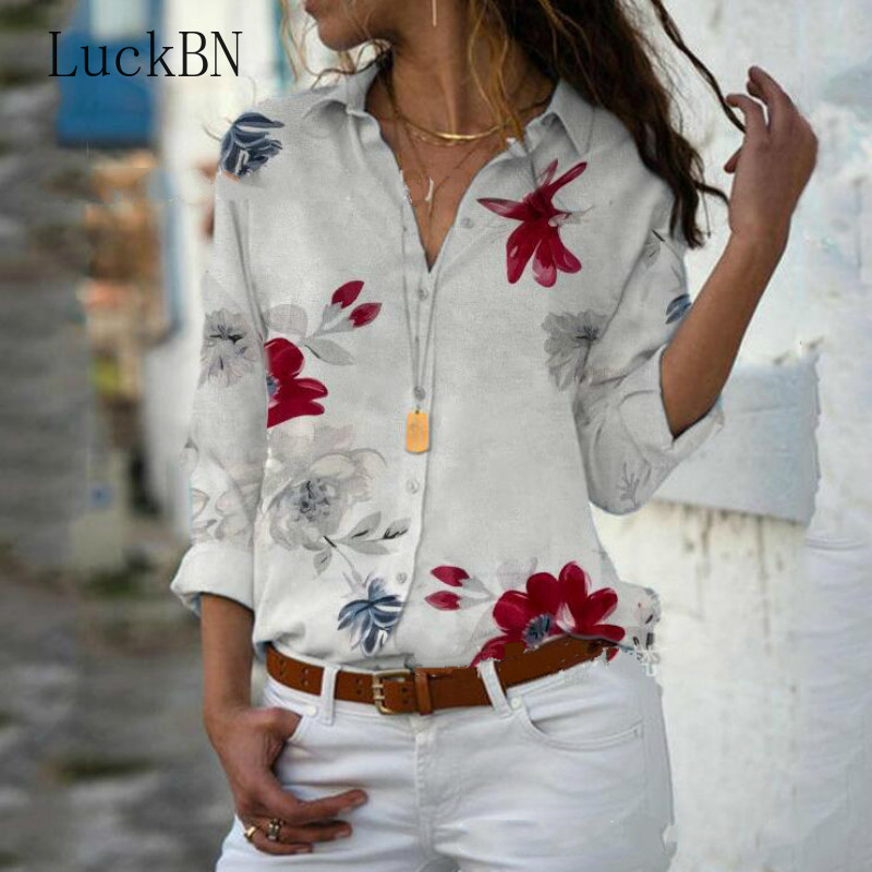 Women Blouse Chiffon Shirt 2020 Spring Top Floral Print Long Sleeve V-neck Blouses Work Office Shirts Blusas Mujer Plus Size 5XL