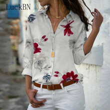 Women Blouse Chiffon Shirt 2019 Summer Top Floral Print Long Sleeve V-neck Blouses Work Office Shirts Blusas Mujer Plus Size 5XL