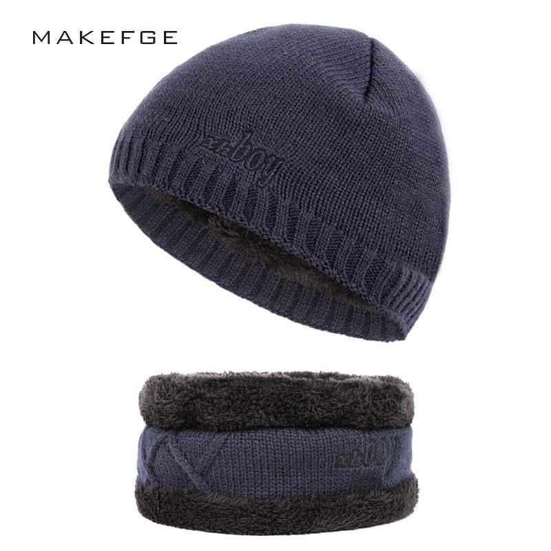 Classic Black Unisex Wool Beanie Cap Winter Warm Embroidery Crochet Knitted Hat