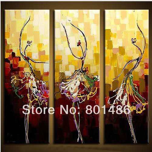 Free shipping! Abstract ballerina dancers art paintings Large 3 ...