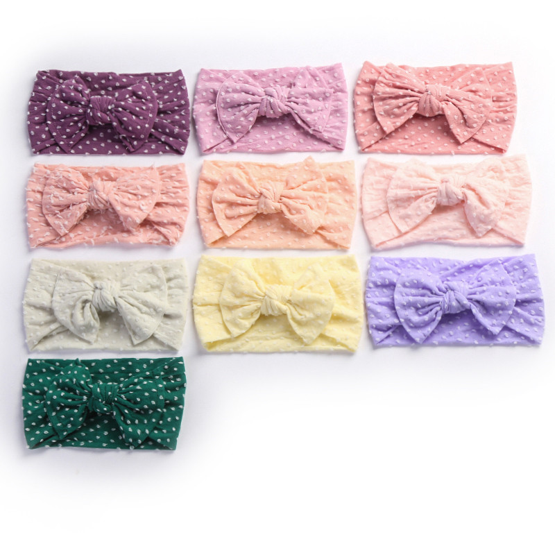 30pc lot Newborn Kids Soft Bowknot Nylon Headbands Messy bow Wide Nylon Elastic Headbands Children Girls