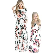 COSPOT Mother and Daughter Long Dress Mom and Little Girl Floral Dresses Women Party Princess Family Matching Dress 2019 New D43