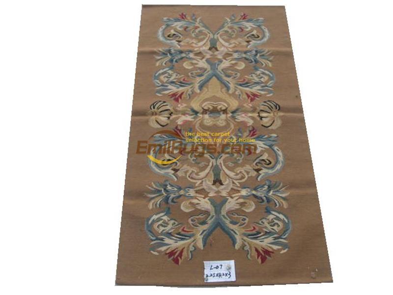 Tapis de sol fait main pour chambre tapis carré tapis Aubusson laine de mouton naturelle