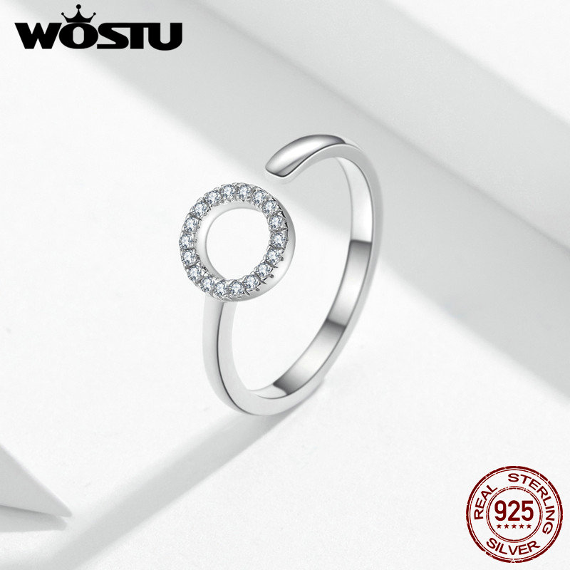 WOSTU Love Wedding Rings 100% 925 Sterling Silver Adjustable Zircon Fashionable Ring For Women Engagement Luxury Jewelry FIR545