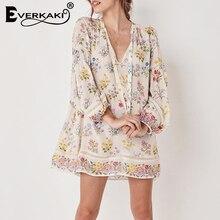 Everkaki, богемная длинная блуза с рукавом, женская, бохо, цветочный узор, кружевные блузки, цветочный принт, летние женские топы,, осень, Новинка