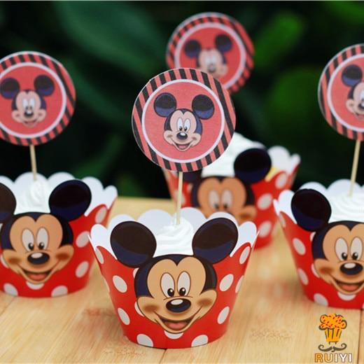 24 pcs Anime mickey mouse envoltórios do queque chapéus de coco picaretas  crianças festa de aniversário 8e52b086296