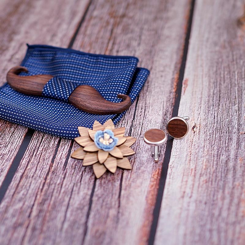 3D Black Walnut beard Wooden Bowtie for Mens Wedding Papillon Corbatas Printed Wood Bow Tie Handkerchief Set for Mens Suit