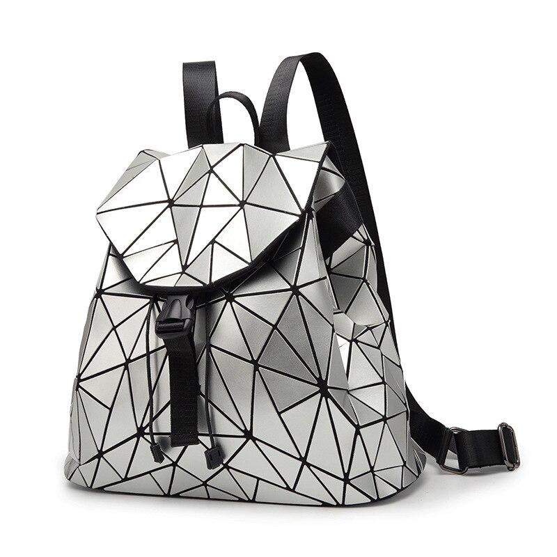 Women Backpack Feminine Geometric Plaid Sequin Female