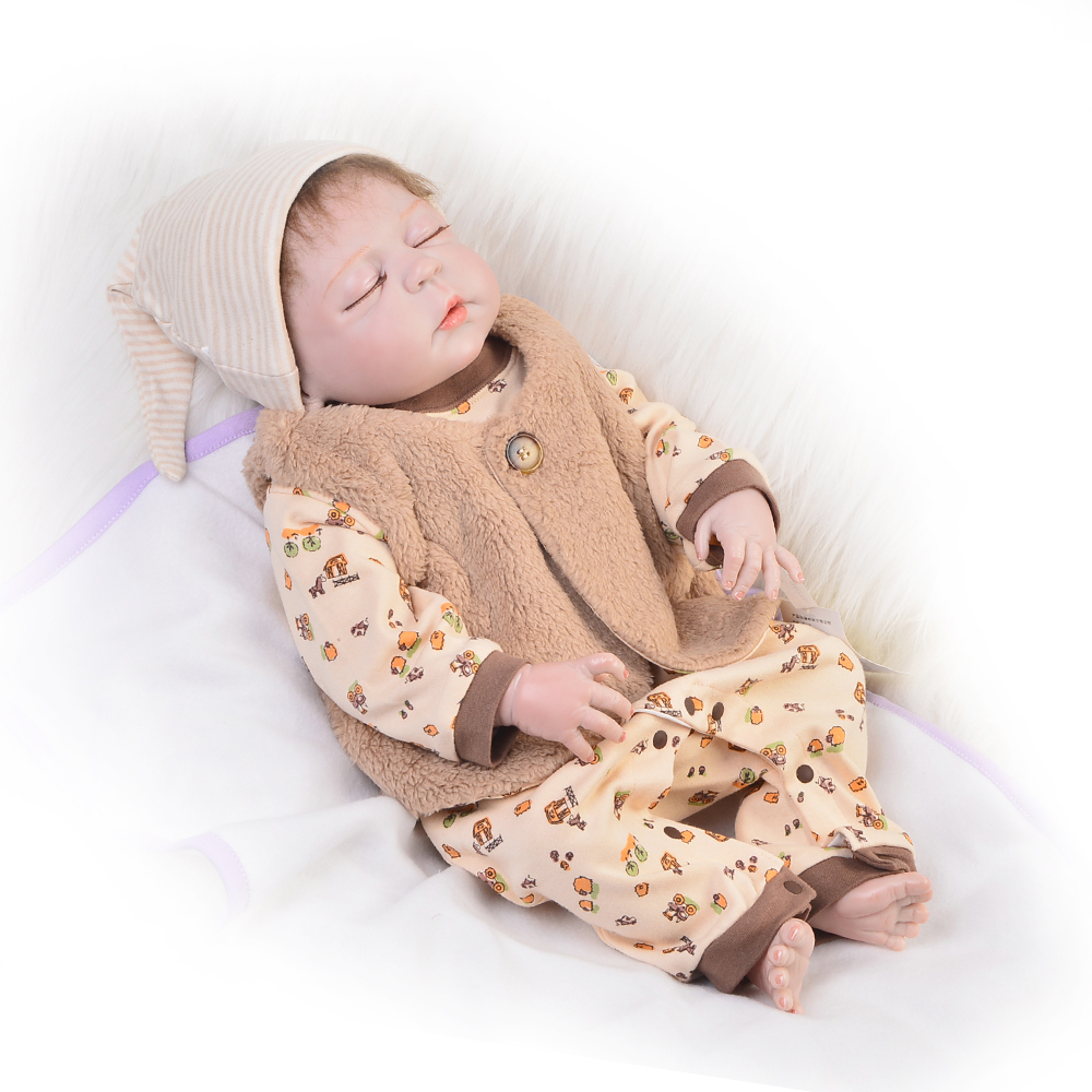 Lifelike Doll Reborn 23'' Full Silicone Vinyl Newborn Dolls Lovely Sleeping Babies Boy For Kids Favorite Birthday Gift Baby Toy lifelike silicone reborn baby doll lovely accompany newborn babies sleeping doll children christmas birthday gift toy brinquedos