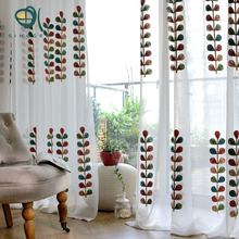 Sinogem Brand High Quality Coral Embroidered Voile Curtains Leaves Tulle Window Curtain Cortinas rideau pour salon para cortina