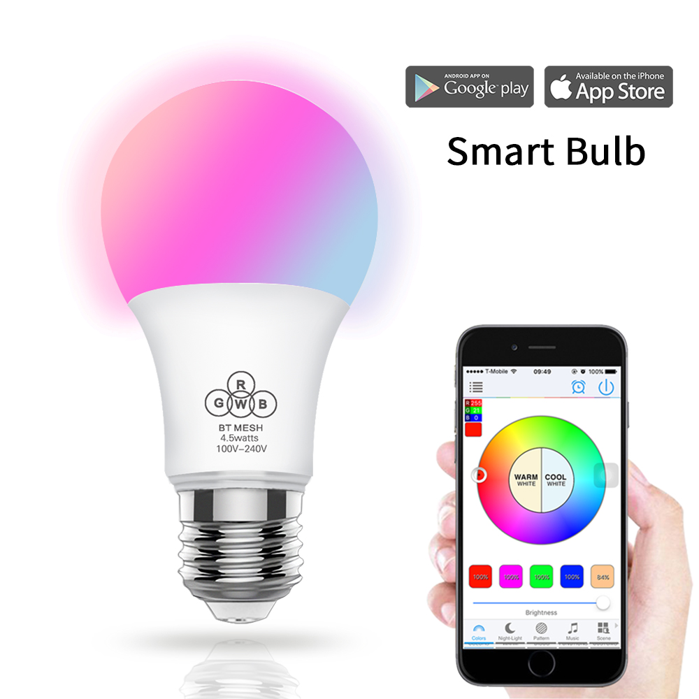 2018 Magic Blue 4.5W E27 RGBW led light WIFI bulb smart lighting Bluetooth lamp color change dimmable AC85-265V for home hotel2018 Magic Blue 4.5W E27 RGBW led light WIFI bulb smart lighting Bluetooth lamp color change dimmable AC85-265V for home hotel