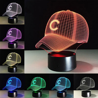 LED NFL Chicago Cubs Football Hat Night Light Touch 7 Colors Desk Lamp Changing USB 3D