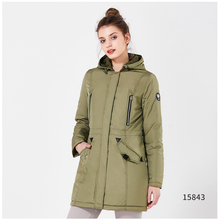 ICEbear Women's Parkas 2018 Thin Spring and Autumn Casual Cotton Padded Jackets Slim Solid Zippers Polyester Hooded Coat 16G262D