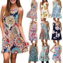 2019 Summer Flower Print Sleeveless Vest Women Cloth Bodycon Pencil Sexy Dress women's printed sleeveless dresses недорого