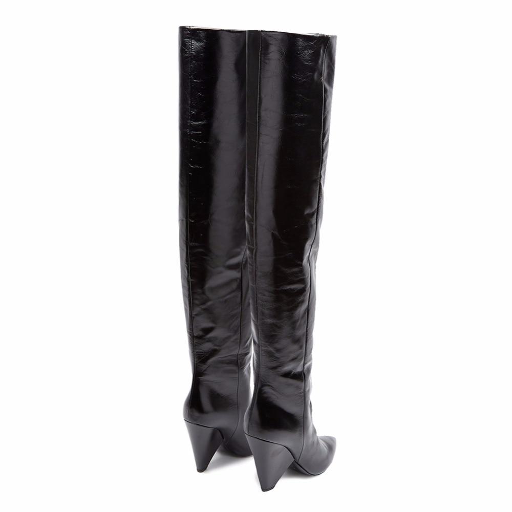 D'hiver Femelle Black Mode Cours Bottes Zipper Bout 2019 Chaude Pointu Chaud Étrange Dames Garder Gratuite Talons Livraison Au Genou Noir Avec SWSfq0wT