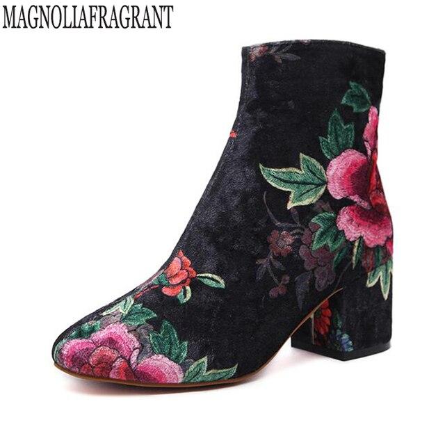 32af410f Nowe damskie buty Jesień Zima Buty Kobieta Streetwear Drukowanie Wysokiej  Góry Pompy Obcasy k509 Sztruks Aksamit