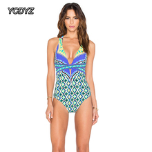 cb0ebdc541 YCDYZ 2018 Sexy High Cut One Piece Swimsuit Women Large Size Bandage  Swimwear Vintage