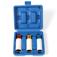 3 Pcs 1/2 Inch Dr. Color Code Thin Wall Deep Impact Socket Set (17mm/19mm/21mm) Air Wrench Garage Tools Automobile Repair