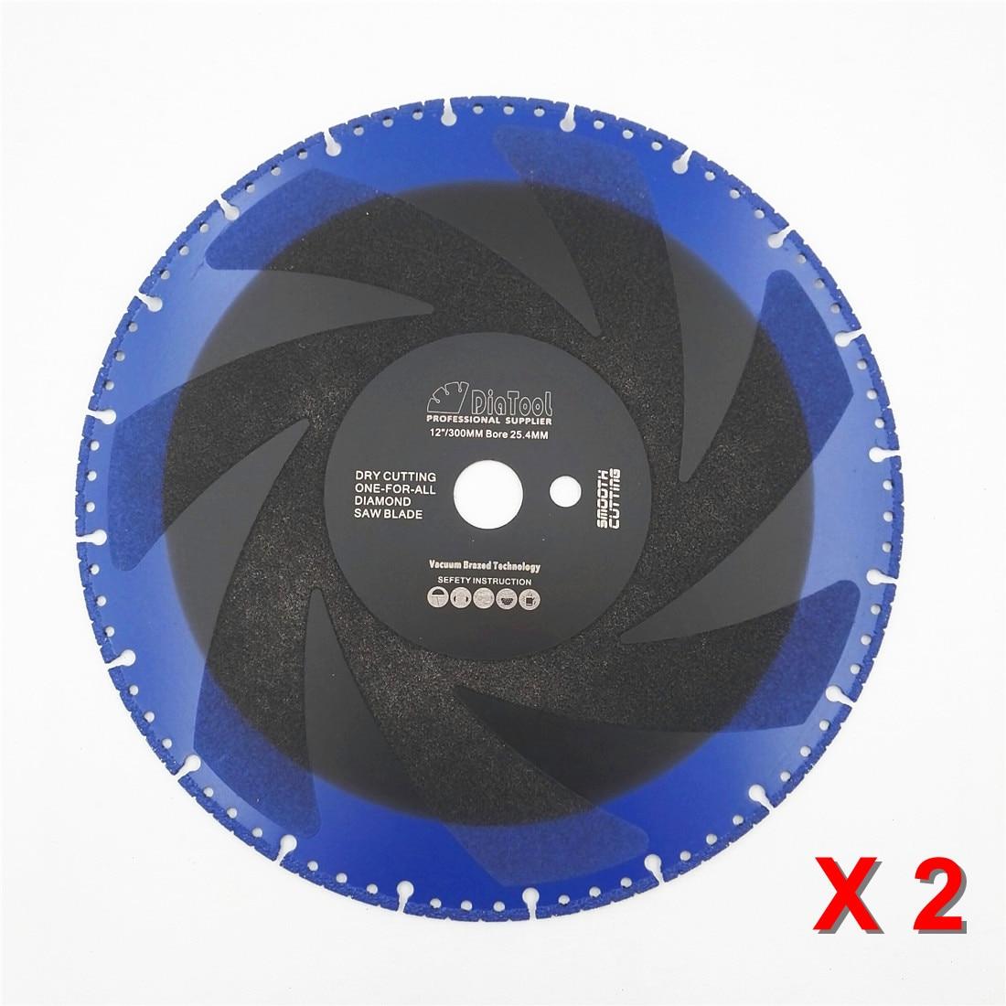DIATOOL 2pcs 300mm Vacuum Brazed Diamond Blade For All Purpose For Stone Iron Steel 12