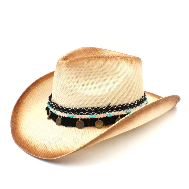 20c98b467e4 Fashion Women Men Straw Western Cowboy Hat With Western Band For Elegant  Lady Sombrero Hombre Cowgirl