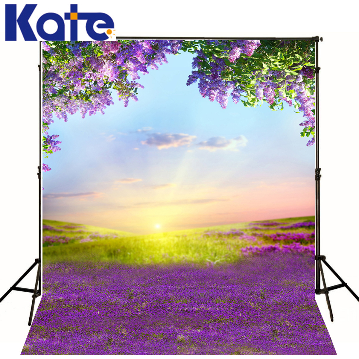 Photography Backdrops White Clouds Green Grass Backdrops Newborn Purple Flower Trees Sunshine Digital Studio Background юбка brusnika brusnika br032ewwsq30