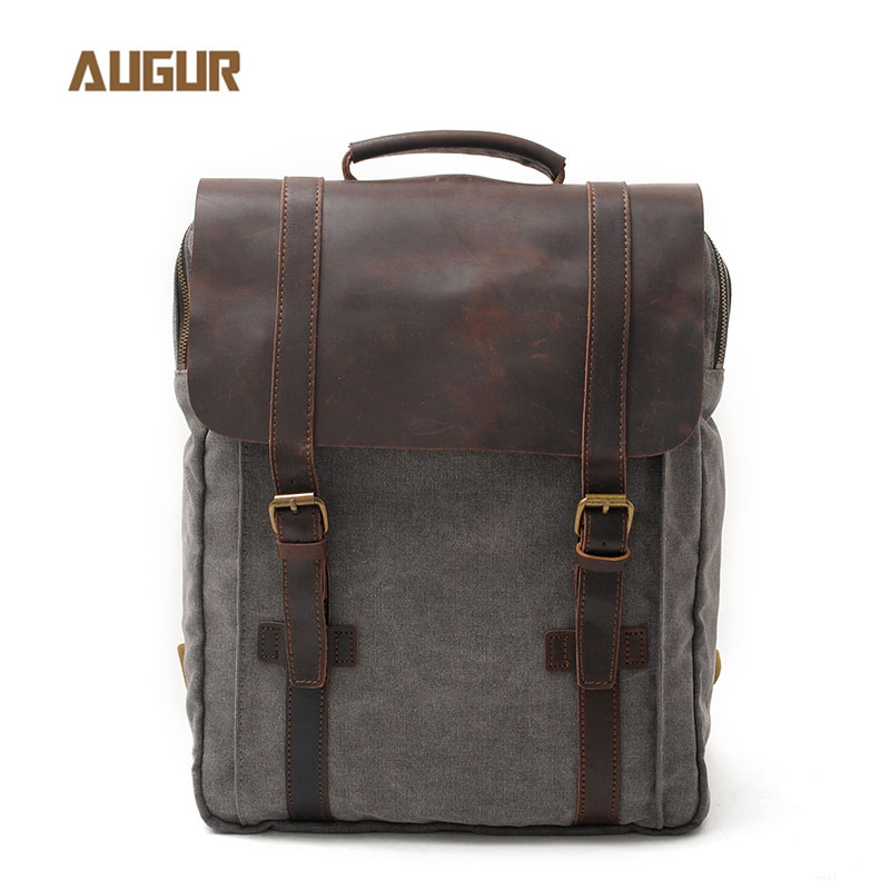 Canvas And cow Leather Bagpack Unisex Vintage Backpack Laptop 15 Inch Women Men Backpacks Travel Bag Mochila Hombre Plecak 2017 xqxa brand 15 6 inch laptop bag backpack men large capacity oxford compact men s 17inch backpacks unisex women bagpack